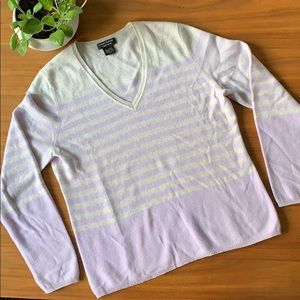 Lord & Taylor Cashmere Grey and Lilac V-Neck XL
